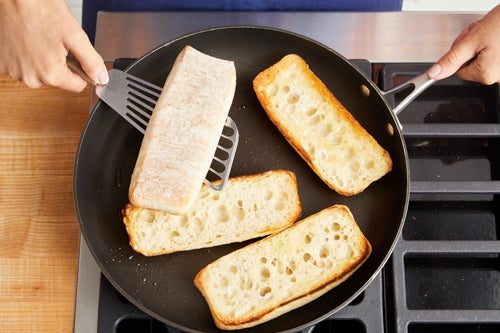 Toast the baguettes & serve your dish: