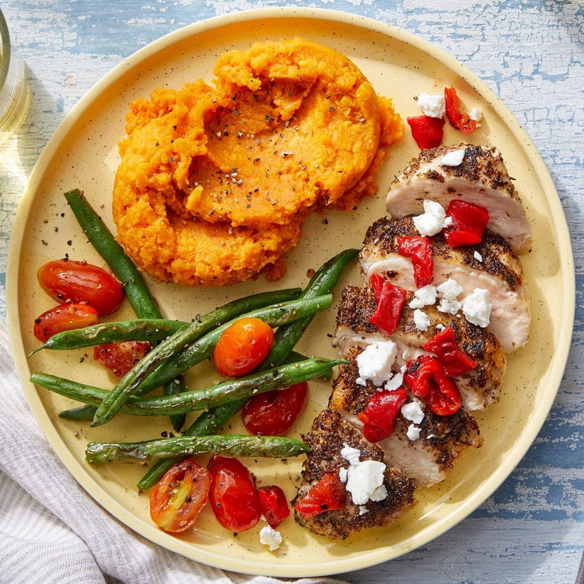 Mediterranean-Style Chicken & Sweet Potatoes with Roasted Red Peppers & Feta