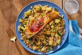 Sour Cherry Salmon with Zucchini, Corn & Farro Salad