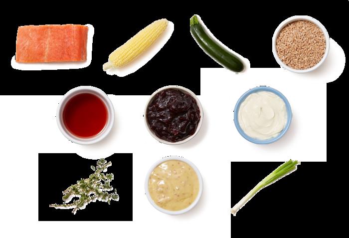 Sour Cherry Salmon with Zucchini, Corn & Farro Salad