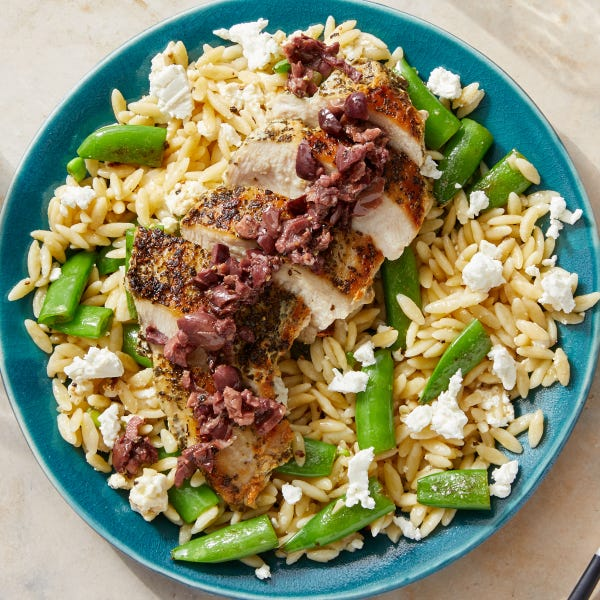 Oregano Chicken & Olive Tapenade with Snap Peas & Orzo