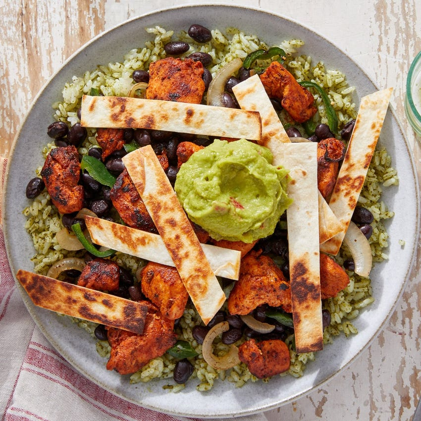Chicken & Black Bean Burrito Bowls with Cilantro Rice & Guacamole