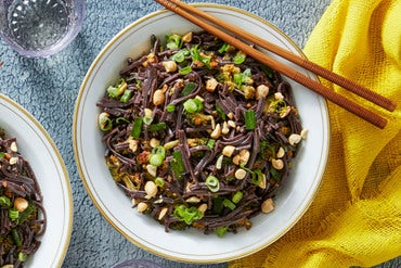 Kung Pao Broccoli with Gochujang & Black Rice Noodles