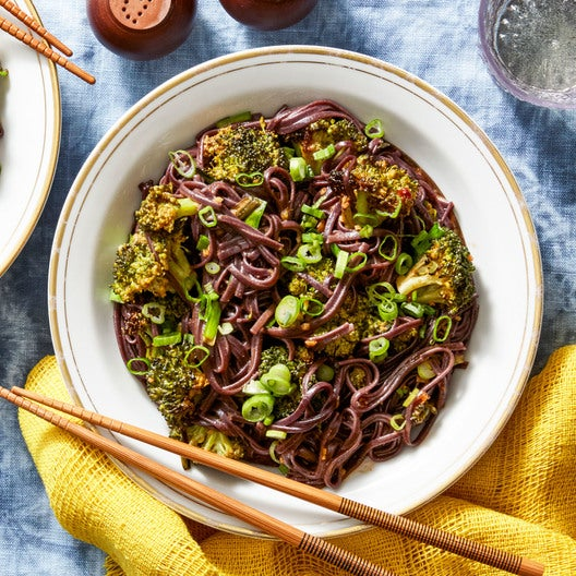Kung Pao Broccoli with Garlic Chives & Black Rice Noodles