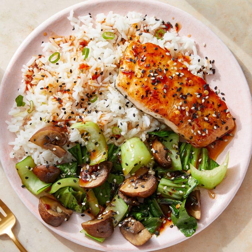 Seared Salmon & Garlic-Scallion Rice with Spicy Sesame Sauce