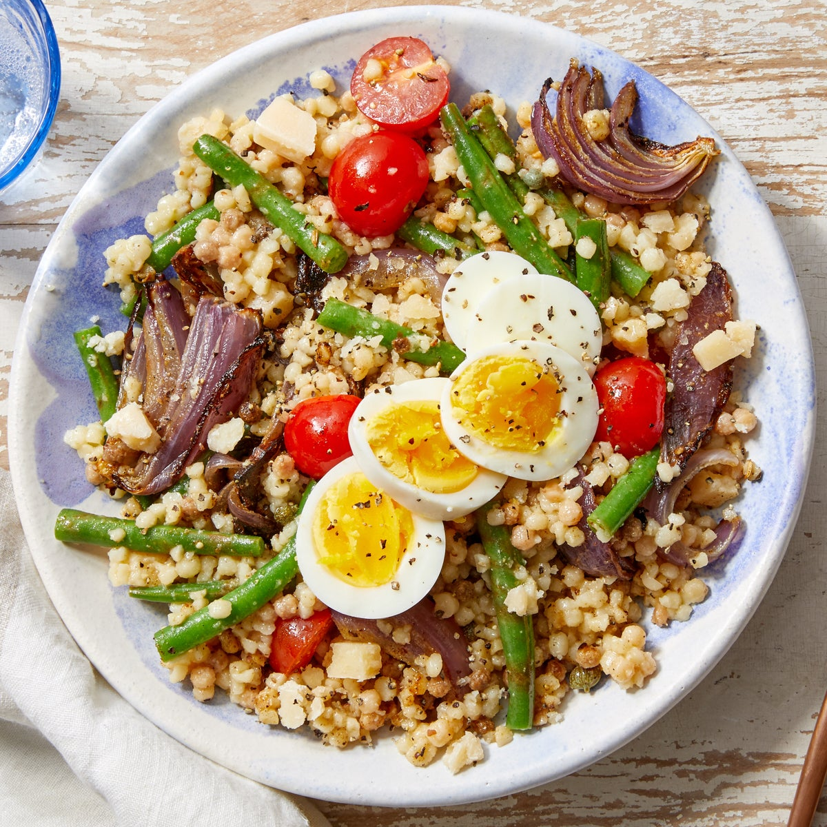 Summer Fregola Sarda Pasta with Green Beans, Tomatoes & Hard Boiled Eggs