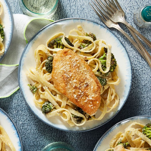 Parmesan-Crusted Chicken with Creamy Fettuccine & Roasted Broccoli