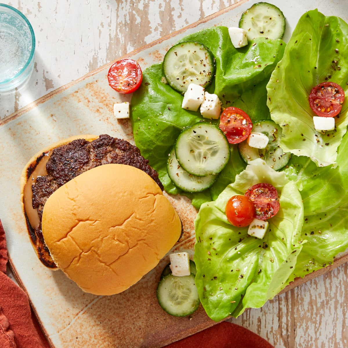 Balsamic Burgers with Mozzarella, Tomato & Cucumber Salad