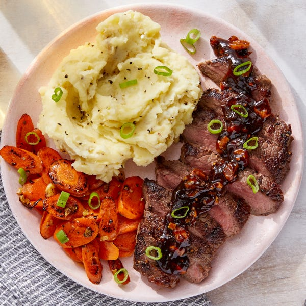 Seared Steaks & Mashed Potatoes with Sautéed Carrots & Homemade Steak Sauce