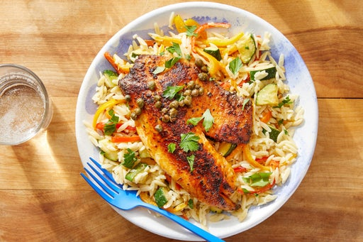 Seared Tilapia & Lemon-Caper Sauce with Orzo, Zucchini & Peppers