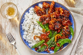 Sweet & Spicy Chicken with Jasmine Rice & Snow Peas
