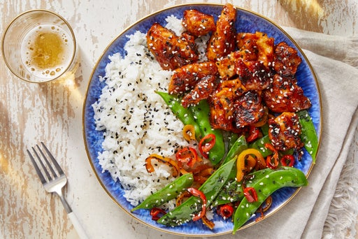 Sweet & Spicy Chicken with Jasmine Rice & Snow Peas