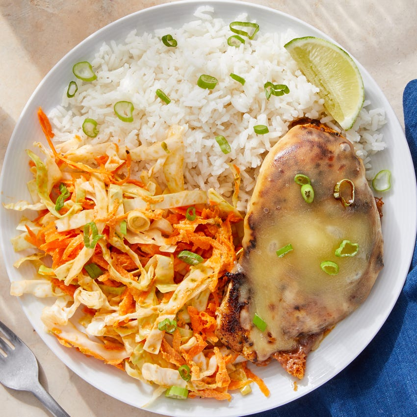 Smothered Spiced Chicken with Rice & Creamy Chipotle Cabbage Slaw