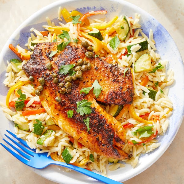 Lemon-Caper Tilapia with Zucchini & Pepper Orzo