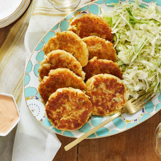 Pan-Fried Cod & Potato Cakes with Marinated Cabbage Slaw