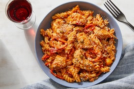 Creamy Chicken & Pepper Pasta with Capers & Parmesan