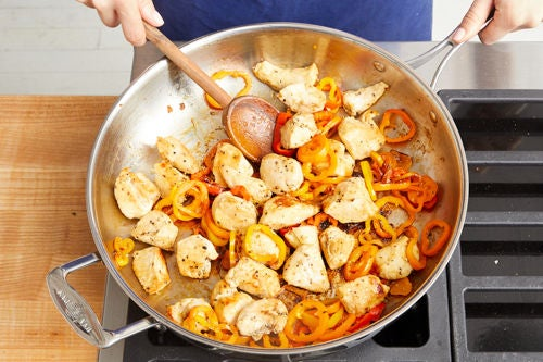 Cook the chicken & peppers: