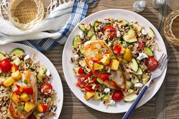 Seared Chicken & Peach Salsa with Red Rice Salad