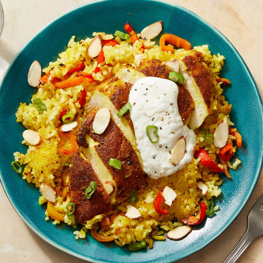 Ras El Hanout Chicken with Persian-Style Saffron Rice