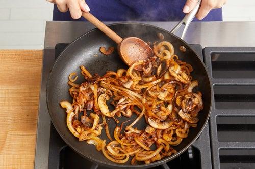 Cook the mushrooms & onion: