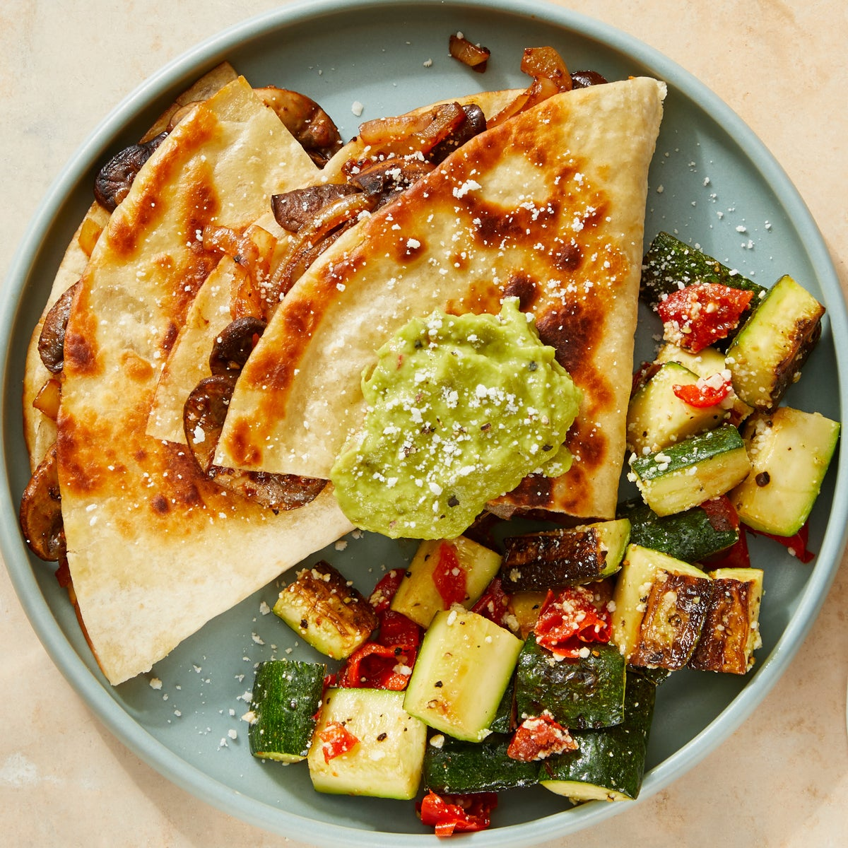 Spicy Vegetable Quesadillas with Guacamole & Dressed Zucchini