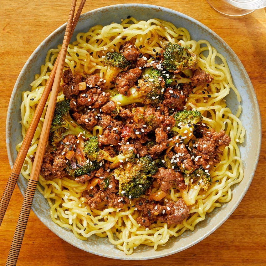 Cumin-Sichuan Peppercorn Beef with Ramen Noodles & Broccoli