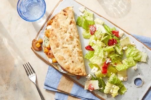 Harissa Chickpea Gyros with Romaine, Roasted Pepper & Feta Salad