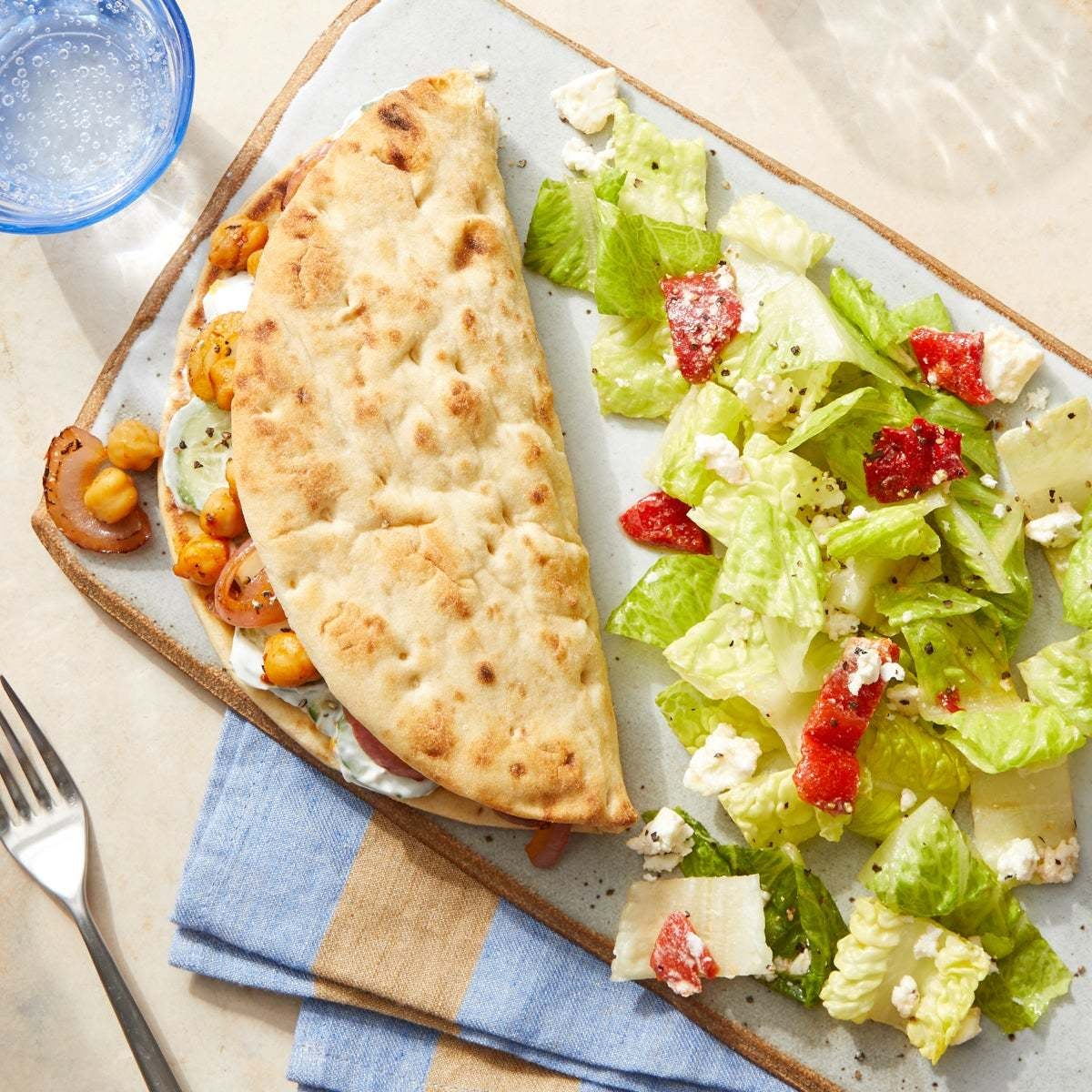 Harissa Chickpea Gyros with Romaine, Roasted Pepper & Feta Salad