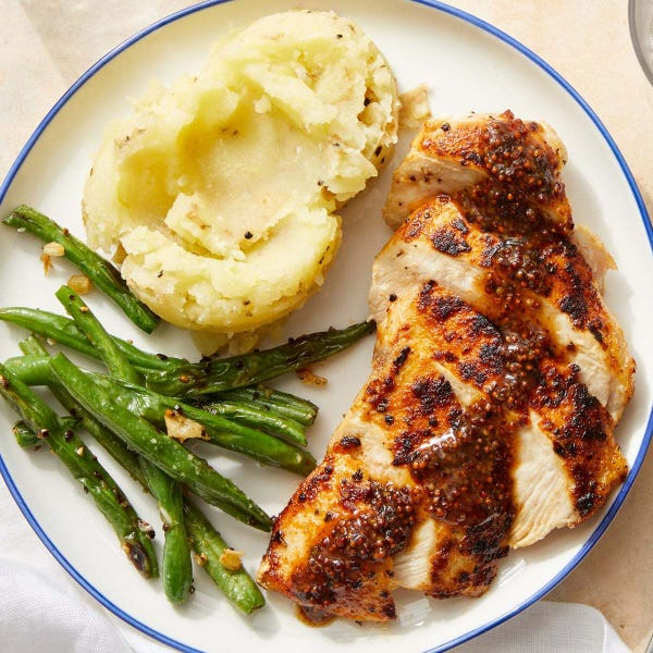 Seared Chicken & Buttermilk Mashed Potatoes with Whole Grain Mustard  Pan Sauce