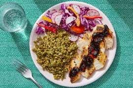 Spicy Chipotle Chicken & Cilantro Farro with Cabbage, Pepper & Radish Slaw