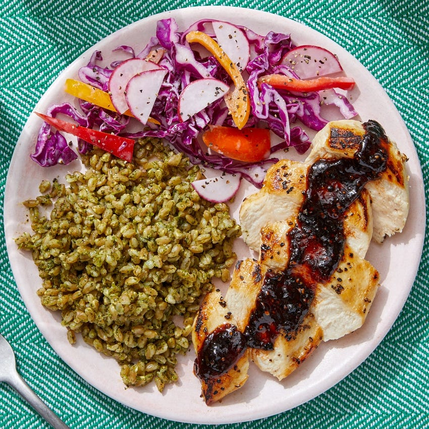 Spicy Chipotle Chicken & Cilantro Farro with Cabbage, Pepper & Radish Slaw
