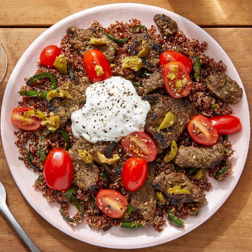 Za'atar Beef & Quinoa with Tzatziki, Tomatoes & Olives