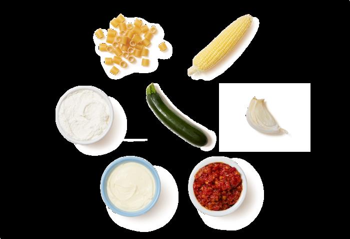 Corn & Zucchini Pasta with Spicy Ricotta