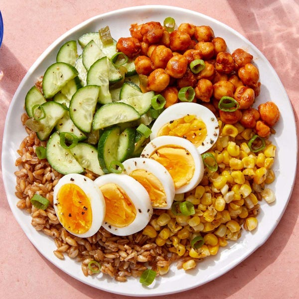 BBQ Chickpeas & Farro with Corn, Cucumbers & Hard-Boiled Eggs