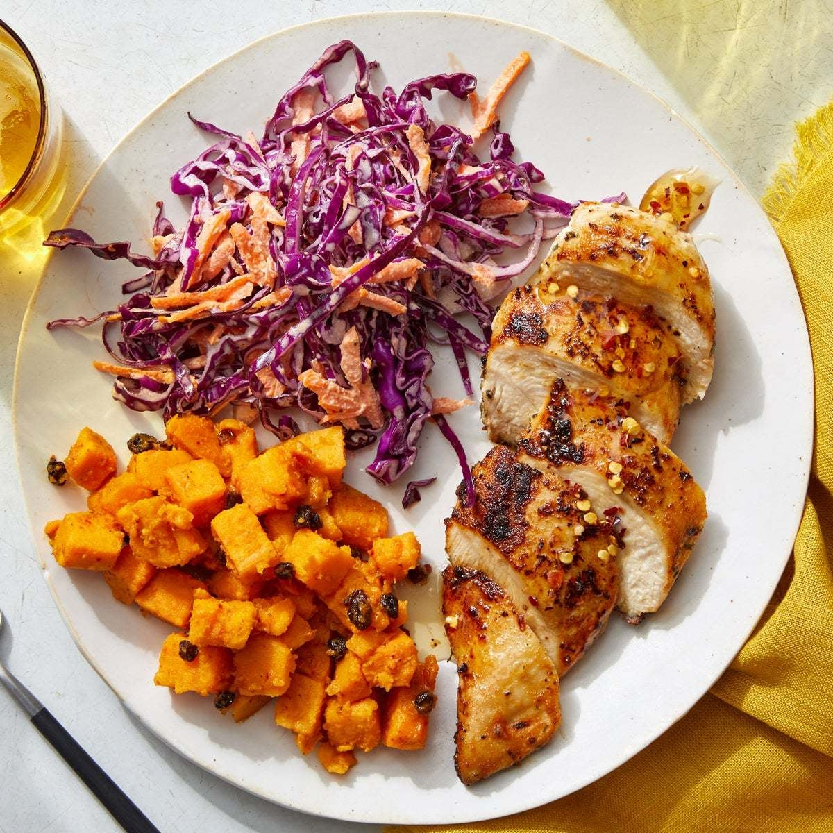 Hot Honey Chicken with Curried Sweet Potato Salad