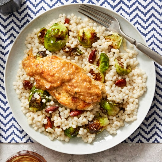 Za'atar-Spiced Chicken with Pink Lemon Pan Sauce & Pearl Couscous