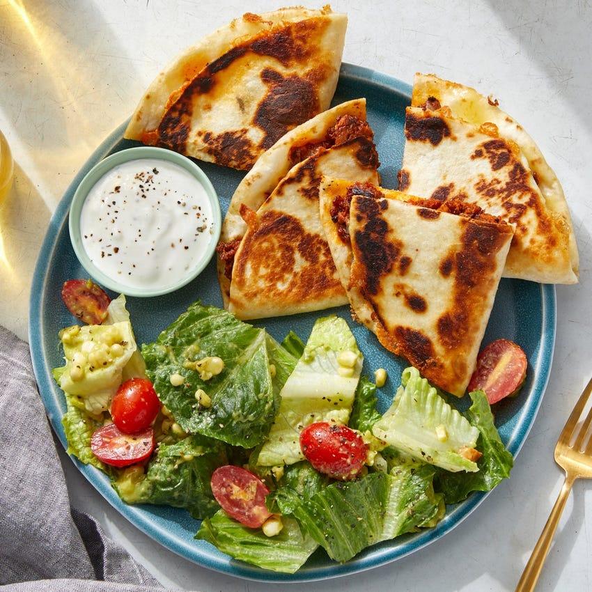 Pork Chorizo & Corn Quesadillas with Romaine Salad  & Guacamole Ranch