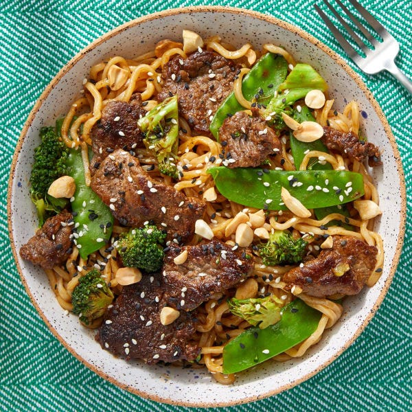 Beef Lo Mein with Snow Peas & Broccoli