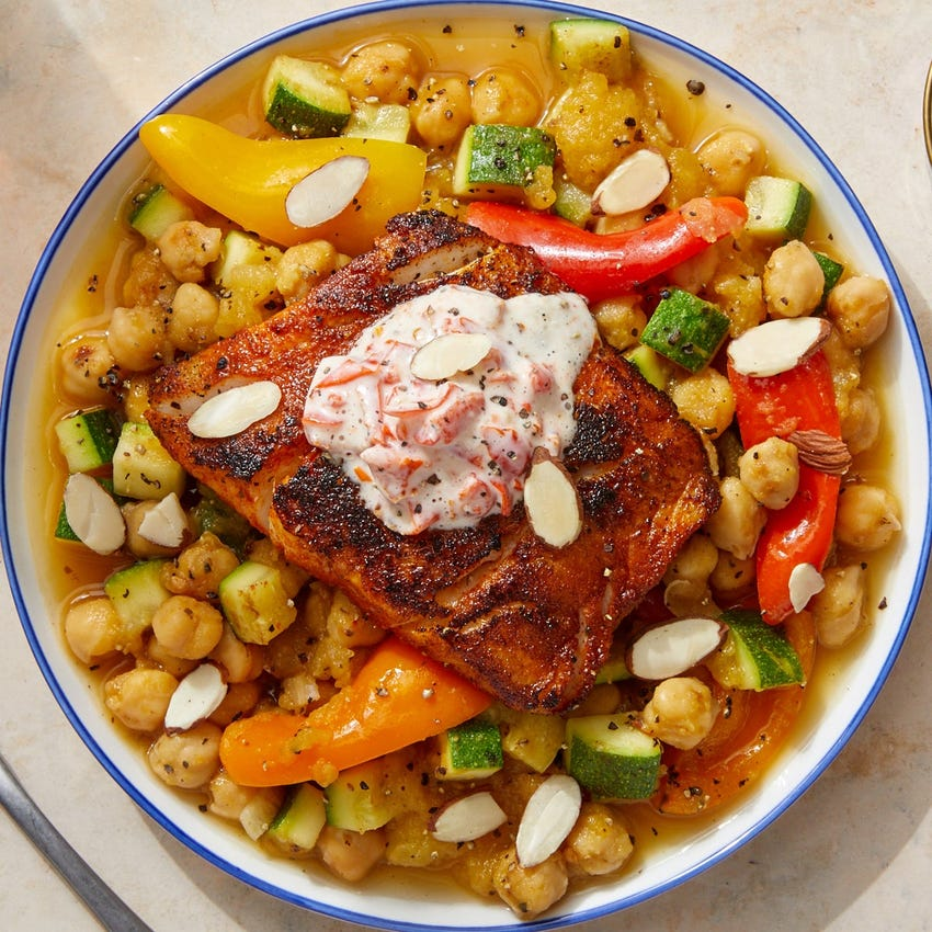 Spanish-Style Cod & Chickpeas with Yellow Tomatoes & Pickled Pepper Aioli
