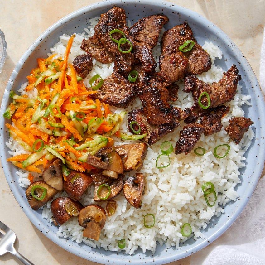 Gochujang Beef & Jasmine Rice with Sesame-Soy Mushrooms & Marinated Vegetables