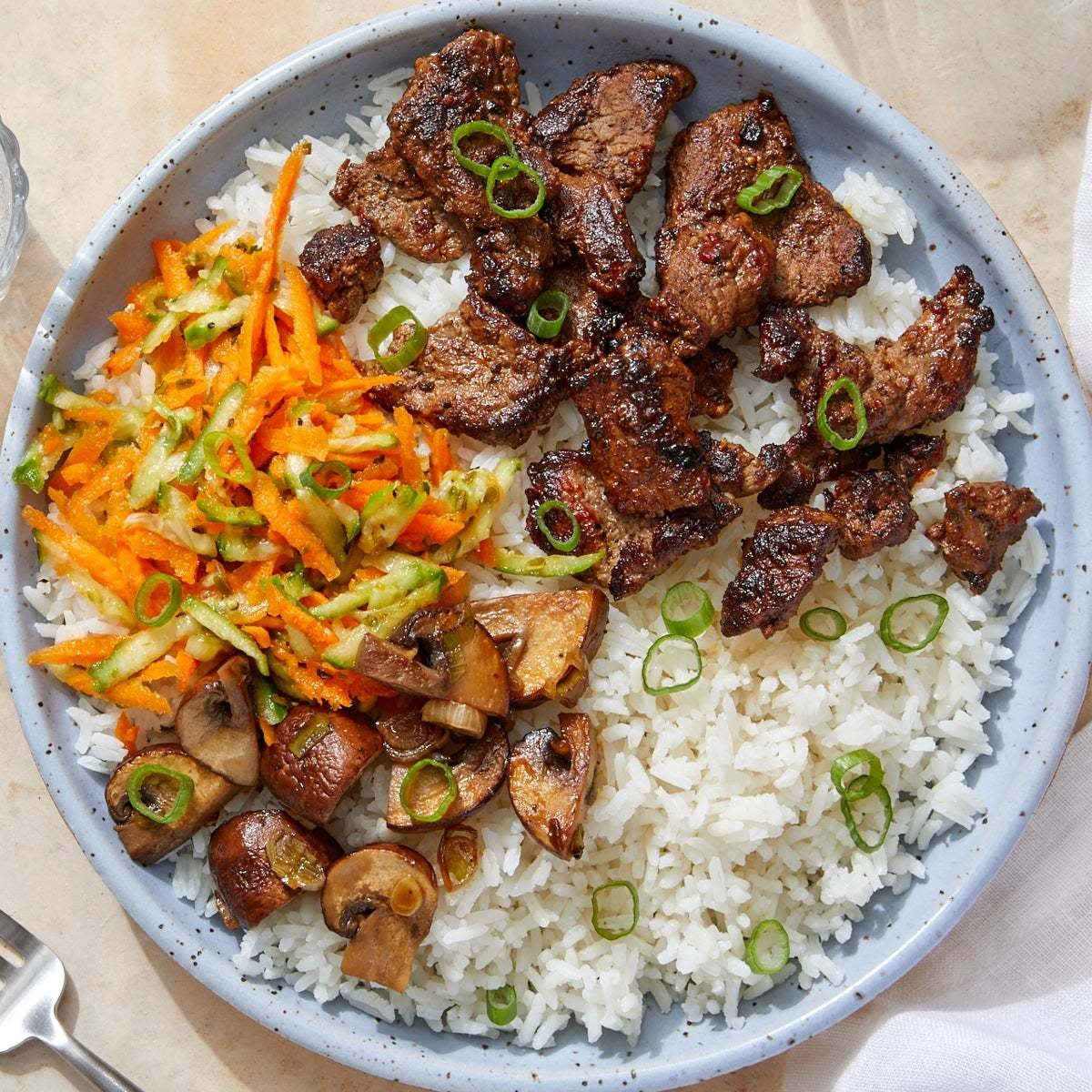 Gochujang Beef & Jasmine Rice with Sesame-Soy Mushrooms & Marinated Vegetables