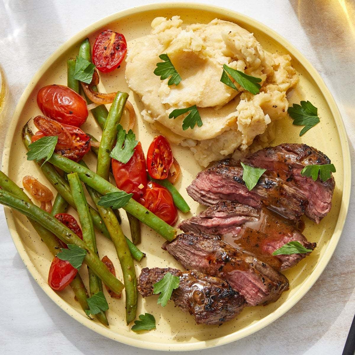 Steaks & Sautéed Vegetables with Cheesy Mashed Potatoes