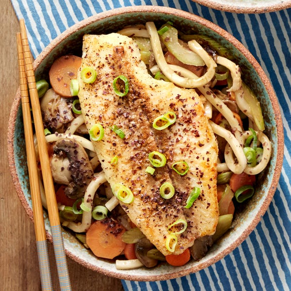 Seared Catfish with Udon Noodles, Mushrooms & Carrots