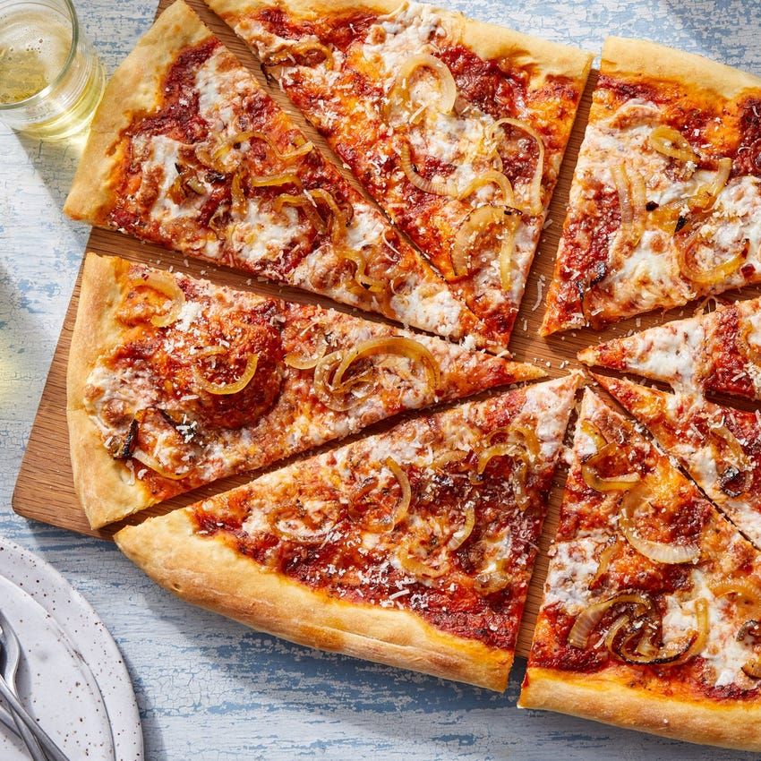 Three-Cheese Pizza with Caramelized Onion