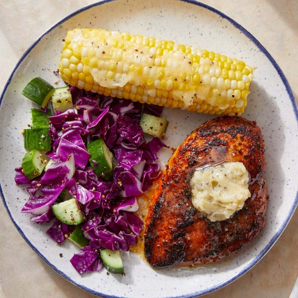 Southern-Style Chicken & Corn with Cabbage & Cucumber Slaw