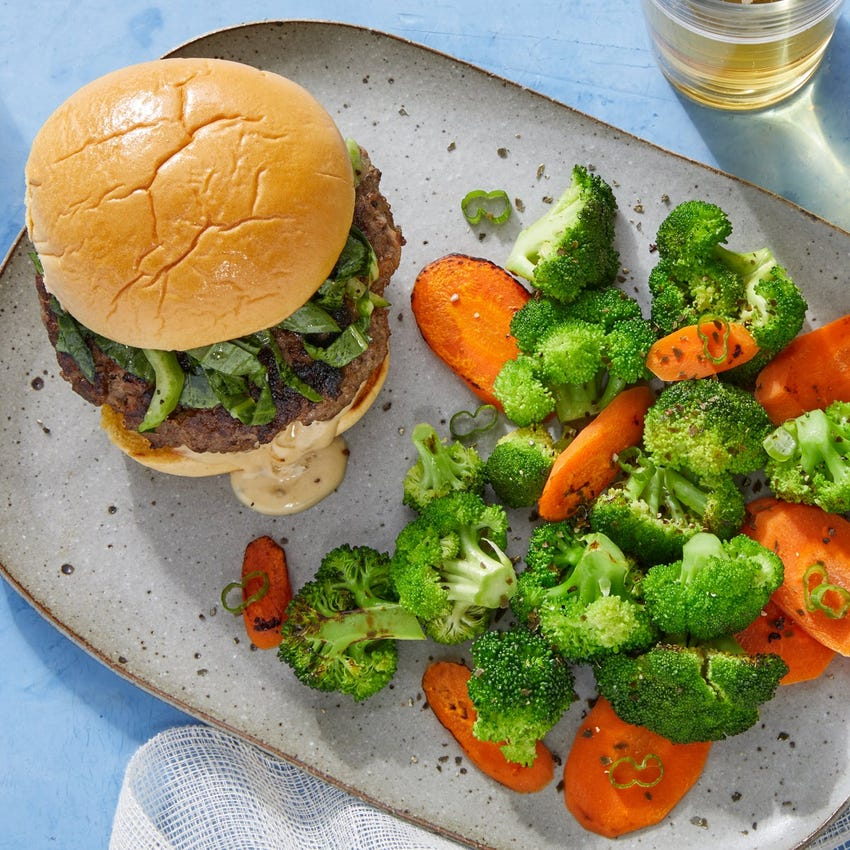Asian-Style Beef & Shiitake Burgers with Sautéed Broccoli & Carrots