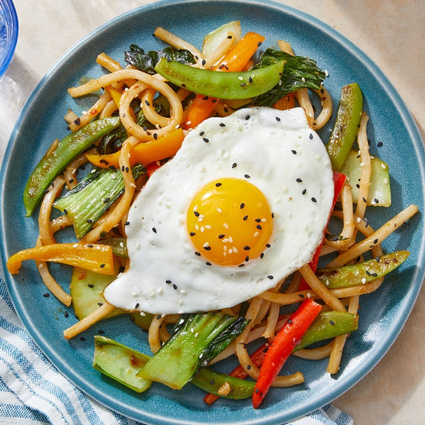 Sweet & Spicy Udon Noodle Stir-Fry with Bok Choy, Sweet Peppers & Fried Eggs
