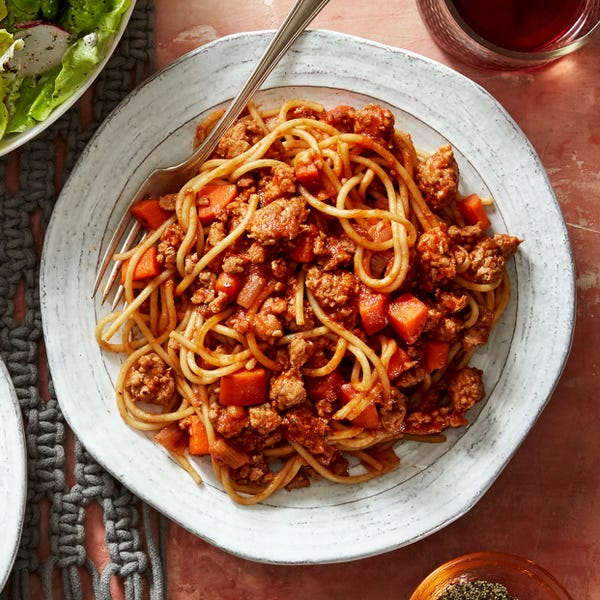 Spaghetti Bolognese with Butter Lettuce Salad & Creamy Italian Dressing