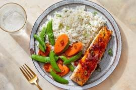 Sweet Chili-Glazed Salmon with Sugar Snap Peas & Carrots