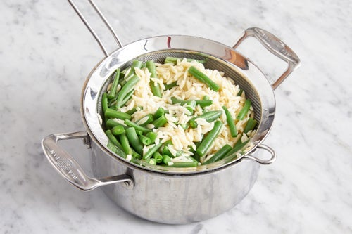 Make the vegetable orzo: